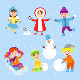 Christmas kids playing winter games children playing snowballs cartoon new year holidays vector characters illustration. Royalty Free Stock Image