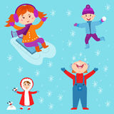 Christmas kids playing winter games children playing snowballs cartoon new year holidays vector characters illustration. Stock Photography