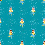 Christmas kids playing winter games children seamless pattern ice-skating cartoon new year winter holidays vector Royalty Free Stock Photography