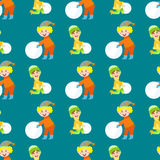 Christmas kids playing winter games children seamless pattern snowballs cartoon new year holidays vector characters Royalty Free Stock Images