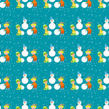 Christmas kids playing winter games children seamless pattern snowballs cartoon new year holidays vector characters Royalty Free Stock Photography
