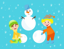 Christmas kids playing winter games children snowballs cartoon new year holidays vector characters illustration. Stock Photography