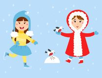 Christmas kids playing winter games children snowballs cartoon new year holidays vector characters illustration. Stock Photos