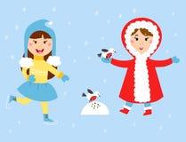 Christmas kids playing winter games children snowballs cartoon new year holidays vector characters illustration. Christmas kids playing winter games girls makes Stock Photos