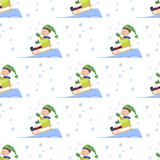 Christmas kids playing winter games seamless pattern background cartoon new year winter holiday background vector Stock Photo