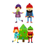 Christmas kids playing winter games skating cartoon new year winter holidays characters vector illustration. Royalty Free Stock Images