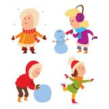 Christmas kids playing winter games Stock Photo