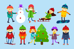 Christmas kids playing winter games. Skating Royalty Free Stock Photo