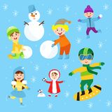 Christmas kids playing winter games children playing snowballs cartoon new year holidays vector characters illustration. Royalty Free Stock Images
