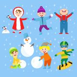 Christmas kids playing winter games children playing snowballs cartoon new year holidays vector characters illustration. Stock Images
