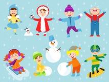 Christmas kids playing winter games. Skating, skiing, sledding, girl dresses up Christmas tree, boy makes a snow man, children playing snowballs. Cartoon New Stock Image