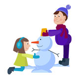 Christmas kids playing winter games Stock Image