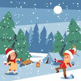 Christmas kids playing winter games skating, skiing, sledding, girl dresses up Christmas tree, boy makes a snow man. Children playing snowballs. Cartoon New stock illustration