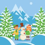Christmas kids playing winter games skating, skiing, sledding, girl dresses up Christmas tree, boy and girl makes a snow. Man, children playing snowballs stock illustration