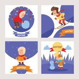 Christmas kids playing winter games skating, skiing, sledding, girl dresses up Christmas tree, boy and girl makes a snow. Man, children playing snowballs vector illustration