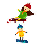 Christmas kids playing winter games skiing sledding cartoon new year winter holidays characters vector illustration. Royalty Free Stock Image
