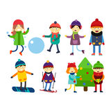 Christmas kids playing winter games skiing sledding cartoon new year winter holidays characters vector illustration. Royalty Free Stock Photos