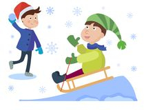 Christmas sledding kids playing winter games cartoon new year winter holiday background vector illustration. Royalty Free Stock Photos
