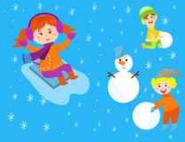 Christmas kids playing winter games children snowballs cartoon new year holidays vector characters illustration. Royalty Free Stock Images