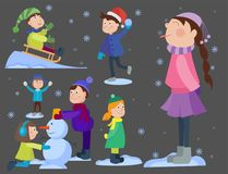 Christmas kids playing winter games cartoon new year winter holiday background vector illustration. Stock Photography