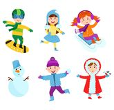 Christmas kids playing winter games vector. Royalty Free Stock Photo