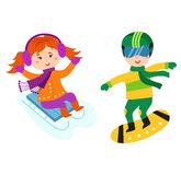 Christmas kids playing winter games vector. Royalty Free Stock Photos