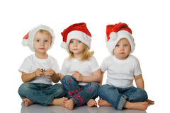 Christmas kids in Santa hat Royalty Free Stock Image
