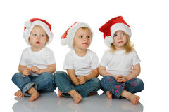 Christmas kids in Santa hat Royalty Free Stock Photography