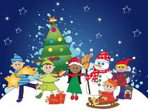 Christmas with kids. Christmas scene with happy children and christmas tree Royalty Free Stock Photography