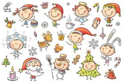 Christmas Kids Set. A set ot funny sketchy kids in Christmas costumes with different holiday attributes. No gradients used, easy to print and edit. Vector files Royalty Free Stock Photo