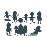 Christmas kids silhouette playing winter games skiing sledding winter holidays characters vector illustration. Christmas kids silhouette playing winter games stock illustration