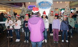 Christmas kids singing event in Telford Plaza Royalty Free Stock Photos