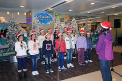 Christmas kids singing event in Telford Plaza Royalty Free Stock Images