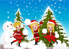 Christmas kids snow Stock Images