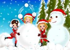 Christmas kids snow Royalty Free Stock Photos