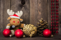 Christmas for kids.Toy deer in santa hat.  New Year decorations Stock Photography