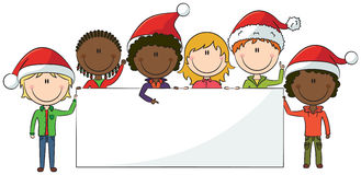 Christmas Kids With Banner Stock Photo