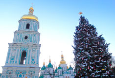 Christmas in Kiev, Ukraine. Saint Sophia square in Kiev, Ukraine during winter holiday season - christmas and new Year's celebrations 2015 Stock Photo