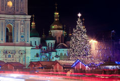 Christmas in Kiev, Ukraine. Saint Sophia square in Kiev, Ukraine during winter holiday season - christmas and new Year's celebrations 2015 Stock Photos
