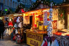 Christmas kiosks in Prage, czech Republic. Royalty Free Stock Images