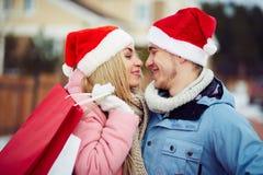 Christmas kiss Royalty Free Stock Photo