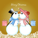 Christmas Kissing Snowman Couple Giving Gifts. Christmas Snowman Couple with Presents and Snowflakes Blue Background stock illustration