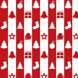 Christmas kit on a red and white background. Christmas kit on background with red and white lines. New year seamless texture. Christmas trees, present, gift Vector Illustration