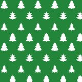 Christmas kit of trees on green background. New year seamless texture Stock Illustration