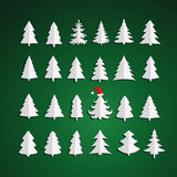 Christmas kit of trees on green background. Royalty Free Stock Image