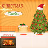Christmas kitchen background poster for design Royalty Free Stock Photos