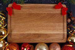 Christmas kitchen, festive dinner, holiday foods background. Fir royalty free stock images