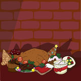 Christmas kitchen food background. Kitchen food background for dinner and other occasions Stock Photos