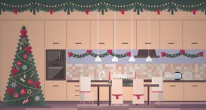 Christmas kitchen interior in a flat vector royalty free illustration