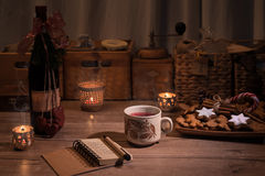Christmas kitchen with mulled wine and cookies Stock Photography
